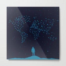 Stars world map - Man Metal Print