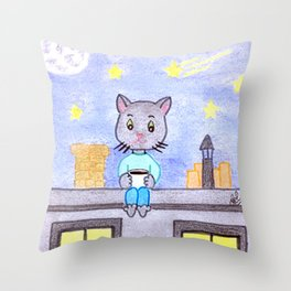 Coffe cat on a roof Throw Pillow