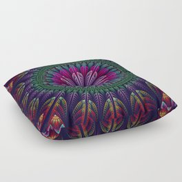 Summer mandala with fantasy flower and petals Floor Pillow