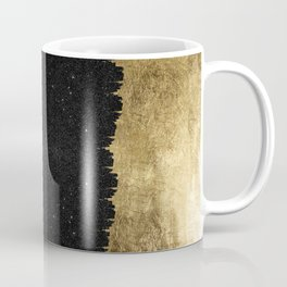 Faux Gold & Black Starry Night Brushstrokes Coffee Mug
