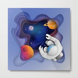 3D Paper Art Astronaut in Space Metal Print