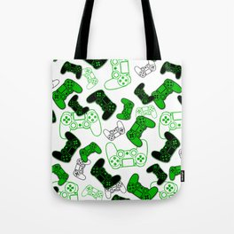 Video Games Green on White Tote Bag