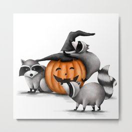 Raccoons and Jack-O-Lanterns Metal Print