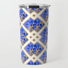 ABSTRACTED BLUE & GOLD PATTERN  CALLA LILIES  DESIGN Travel Mug