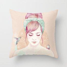 Pink hair lady Throw Pillow