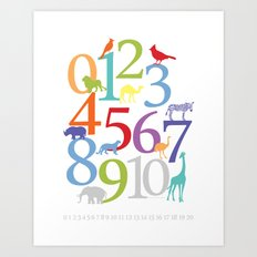 Animal Numbers -  Bright colorway Art Print