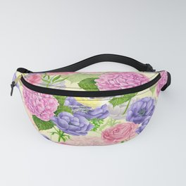 Tit bird and flowers Fanny Pack