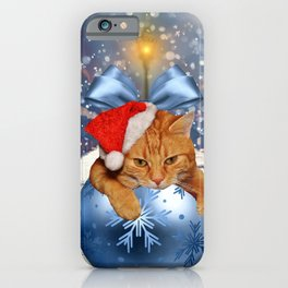 Christmas Cat and Snow iPhone Case