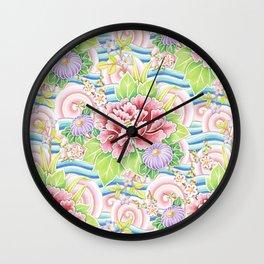 Pastel Kimono Bouquet Wall Clock