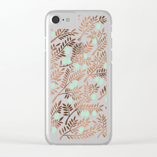 Olive Branches – Rose Gold & Mint Clear iPhone Case