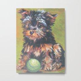 A realistic Yorkshire Terrier pup Portrait by L.A.Shepard fine art painting Metal Print