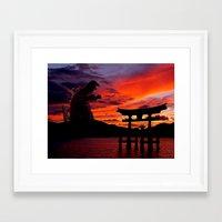 godzilla Framed Art Prints featuring Godzilla by Danielle Tanimura