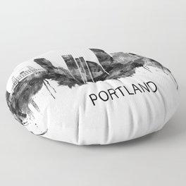 Portland Oregon Skyline BW Floor Pillow