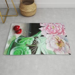 Cherry Blossoms in Green Glass Rug