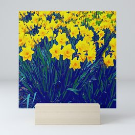 BLUE-PURPLE GARDEN OF YELLOW SPRING DAFFODILS Mini Art Print