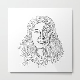 Norse Goddess Hel Face Front Drawing Black and White Metal Print