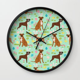 Boxer dog breed pet art easter spring dog gifts boxer dogs pure breed Wall Clock
