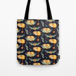 Animal Pattern Sleeping Fox Watercolor Navy Orange Tote Bag