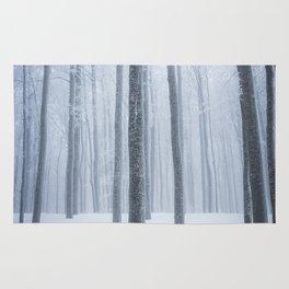 Foggy frozen winter forest Rug