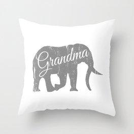 "A Family Tee For Grandmas Saying ""Grandma"" T-shirt Design Elephant Animal Lovers Trunk Ancestor Throw Pillow"