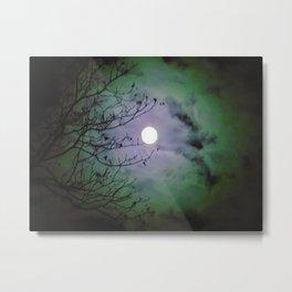 Full Moon Mysterious Night Green Metal Print