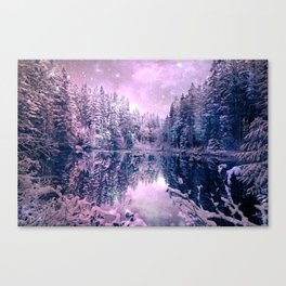 Pink Lavender Winter Wonderland : A Cold Winter's Night Canvas Print
