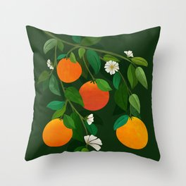 Oranges and Blossoms / Botanical Illustration Throw Pillow
