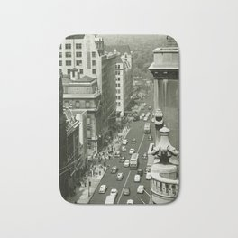 Fifth Avenue, New York City, B&W, high angle view 1950s vintage photo Bath Mat