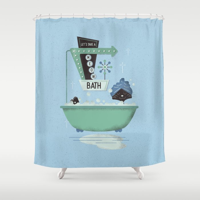 Let's take a meow bath Shower Curtain