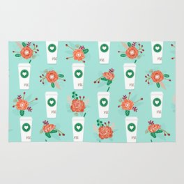 Coffee lovers mint floral bouquet gift idea for sbucks fan java pattern kitchen food Rug
