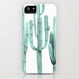 Turquoise Cactus Watercolor Painting iPhone Case