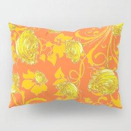 AWESOME CUMIN ORANGE & YELLOW ROSE SCROLLS  ART Pillow Sham