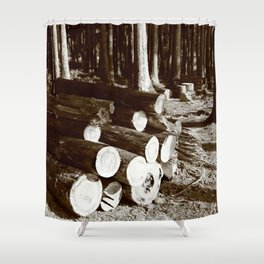 Stacked logs Shower Curtain
