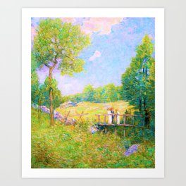 Julian Alden Weir - The Fishing Party - Digital Remastered Edition Art Print