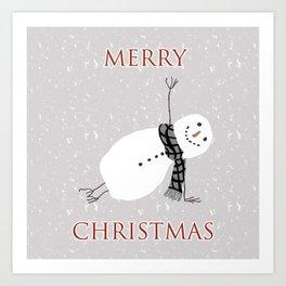 Snowman Yoga - Side Planck Art Print