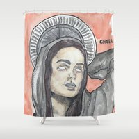 oitnb Shower Curtains featuring Pennsatucky OITNB by Ashley Rowe