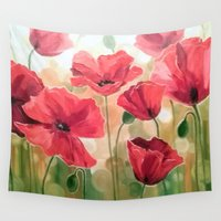 poppies Wall Tapestries featuring Poppies by OLHADARCHUK