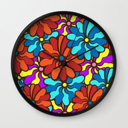 floral background. field of multi colored bright summer colors for the background Wall Clock