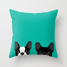 Boston Terrier and French Bulldog Throw Pillow