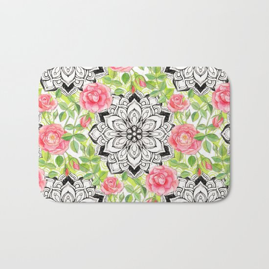 Peach Pink Roses and Mandalas on Lime Green and White Bath Mat