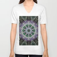 stained glass V-neck T-shirts featuring Stained Glass  by IowaShots