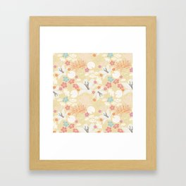 Yellow Japanese pond florals Framed Art Print