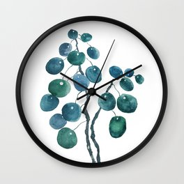 Chinese money plant watercolor Wall Clock