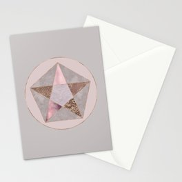 Glamorous Rose Gold Pentagon Symbol Stationery Cards