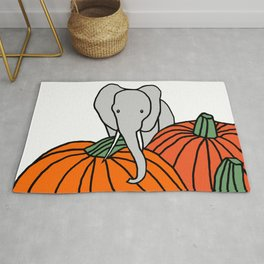 Big Elephant hanging out in the Pumpkin Patch for Halloween Rug