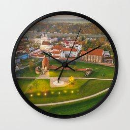 Kaunas old town, aerial view Wall Clock