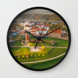 Kaunas old town, aerial view Wall Clock
