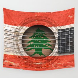 Old Vintage Acoustic Guitar with Lebanese Flag Wall Tapestry