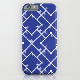 Bamboo Chinoiserie Lattice in Blue + White iPhone Case