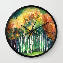 Glimpse of Gold Leaves and Trees Wall Clock